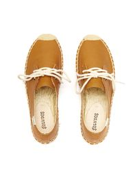 Soludos - Brown Leather Derby Espadrilles - Lyst