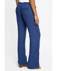 4our Dreamers - Blue Wide Leg Linen Pants - Lyst