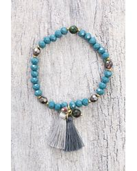 South Moon Under | Blue Beaded Tassel Bracelet | Lyst