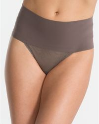 Spanx | Gray Undie-tectable Lace Thong | Lyst