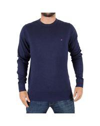Tommy Hilfiger | Men's Plaited Silk Logo Knit, Blue Men's Sweatshirt In Blue for Men | Lyst