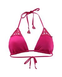 Seafolly - Tahiti Pink Slide Triangle Swimwear Flower Festival Women's Mix & Match Swimwear In Pink - Lyst