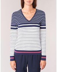 Tommy Hilfiger - Ivy Double V-nk Swtr Women's Sweater In Blue - Lyst