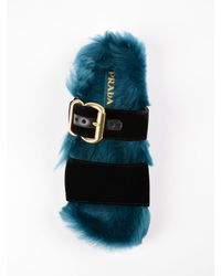 Prada - Multicolor Velluto+montone Sandal 15mm - Lyst