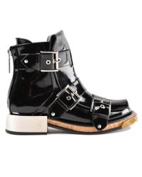 Alexander McQueen - Black Chunky Sole Leather Buckled Boots - Lyst