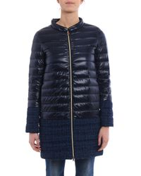 Herno - Blue Long Padded Jacket - Lyst