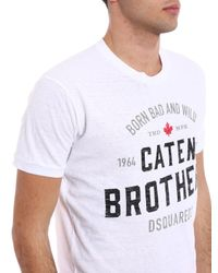 """DSquared² White """"caten Brothers"""" T-shirt for men"""