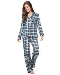 Splendid - Blue Piped Pajama Set - Lyst