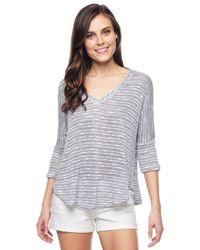 Splendid - Gray White Slub Short Sleeve Pullover - Lyst