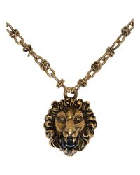 Gucci - Metallic Gold Lion Head Necklace for Men - Lyst