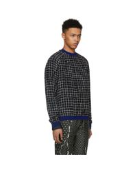 Haider Ackermann - Black And White Silk Anatase Check Sweatshirt for Men - Lyst