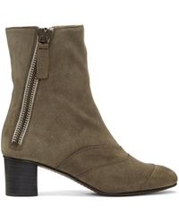 Chloé - Gray Grey Suede Lexie Boots - Lyst