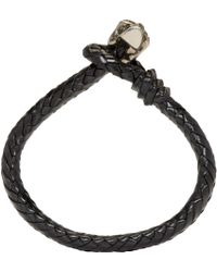 Alexander McQueen | Black Braided Leather Skull Bracelet for Men | Lyst