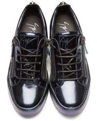 Giuseppe Zanotti - Blue Metallic Leather Low-top London Sneakers for Men - Lyst