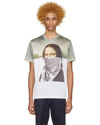 Neil Barrett - Green & White Mona Lisa T-shirt for Men - Lyst