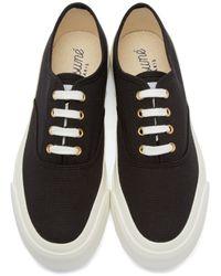 Maison Kitsuné - White Black Canvas Sneakers - Lyst