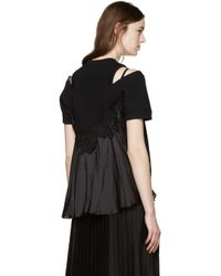 Sacai - Black Lace Back Pullover - Lyst