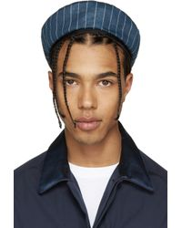 Umit Benan - Blue Black Pinstripe Command Hat for Men - Lyst