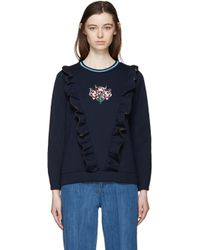 Mother Of Pearl - Blue Navy Bonded Jersey Daisy Pullover - Lyst