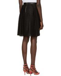 Burberry - Black Silk & Leather Striped Skirt - Lyst