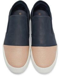 Filling Pieces - Blue Navy & Tan Perforated Slip-on Sneakers for Men - Lyst