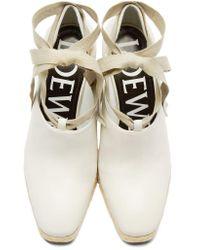 Loewe - White Leather Wedge Espadrilles - Lyst