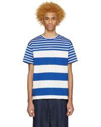 Kidill - White & Blue Striped T-shirt for Men - Lyst