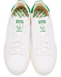 Adidas Originals - White & Green Primeknit Stan Smith Sneakers - Lyst