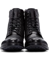 DIESEL - Black Leather D-kallien Boots for Men - Lyst