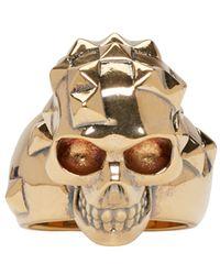 Alexander McQueen - Metallic Gold Brass Skull Ring for Men - Lyst