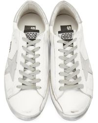 Golden Goose Deluxe Brand - Green White Sparkle Superstar Sneakers for Men - Lyst