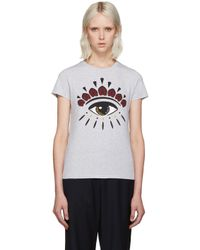 KENZO | Gray Grey Eye Logo T-shirt | Lyst