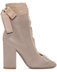 Valentino | Natural Beige Lace-up Ballerina Boots | Lyst