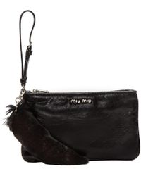 Miu Miu | Black Leather & Fur Pouch | Lyst