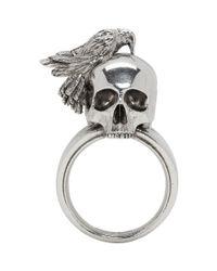 Alexander McQueen - Metallic Silver Raven And Skull Ring for Men - Lyst