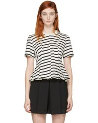 T By Alexander Wang | White Ivory Striped Peplum Pullover | Lyst