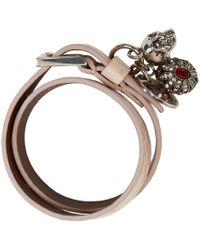 Alexander McQueen - Pink Snakeskin Fly Double-wrap Bracelet - Lyst