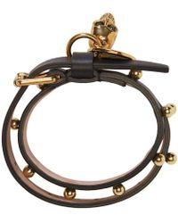 Alexander McQueen - Black Skull Double Wrap Bracelet - Lyst
