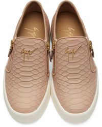 Giuseppe Zanotti Pink Snake-embossed London Slip-on Sneakers