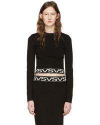 Versus  | Black Cropped Logo Pullover | Lyst