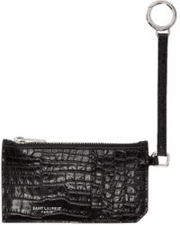 Saint Laurent | Black Croc-embossed 5-fragments Keyring Zip Card Holder | Lyst