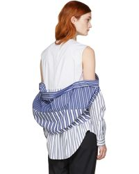 Enfold - White & Navy Reconstructed Shirting Blouse - Lyst