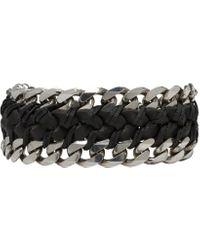 Emanuele Bicocchi | Black Braided Leather & Chain Bracelet | Lyst