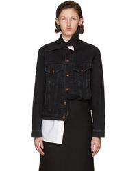 Balenciaga - Black Scarf Denim Jacket - Lyst