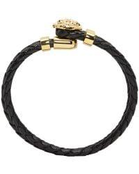 Versace | Black & Gold Double Wrap Medusa Bracelet for Men | Lyst