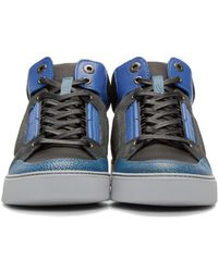 Lanvin - Multicolor Tricolor Leather & Mesh Mid-top Sneakers for Men - Lyst