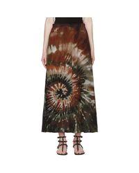 Valentino - Black Green Tie-dye Silk Skirt - Lyst
