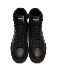 KENZO - Black Wavy Leather High-top Sneakers - Lyst