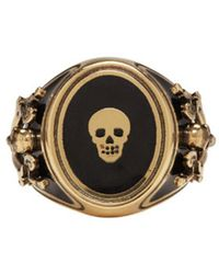Alexander McQueen | Metallic Gold Enamel Signet Ring for Men | Lyst