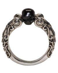 Alexander McQueen - Metallic Silver Black Skull Ring - Lyst